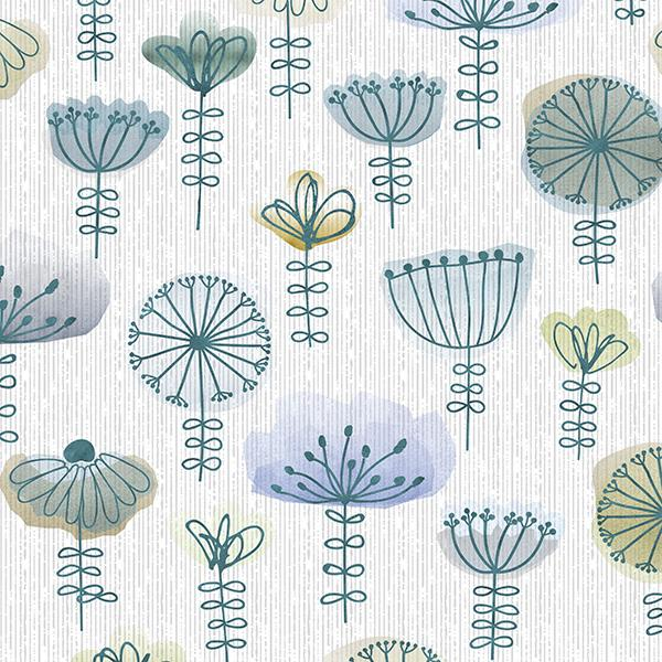 Watercolor Sketch Floral Printed Vinyl Flooring Design Pool - GIF Aqua