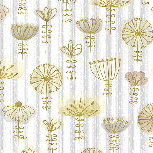 Watercolor Sketch Floral Printed Vinyl Flooring Design Pool - GIF Yellow