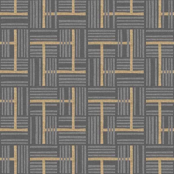 Overlapping Plaid Printed Vinyl Flooring Design Pool - GIF Gray