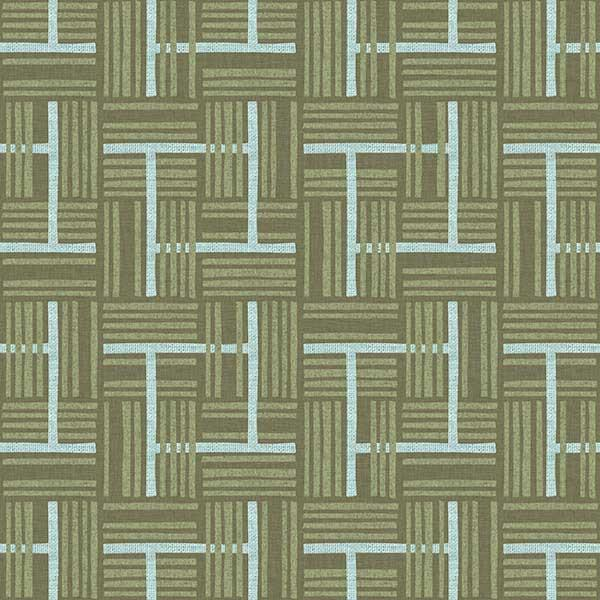 Overlapping Plaid Printed Vinyl Flooring Design Pool - GIF Green
