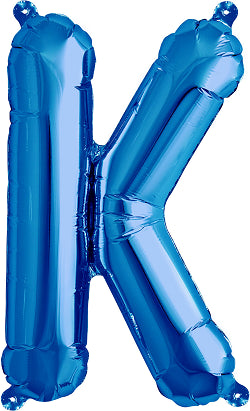 41cm Air Fill Letter K Foil Balloon Blue