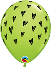28cm Lime Green Prickly Heart Seeds Latex Balloon Pack of 25