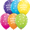 28cm Mothers Day Hearts Dots Latex Balloon Pack of 25