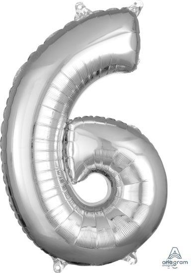 Number 6 Mid Size Shaped Foil Balloon 66cm Silver