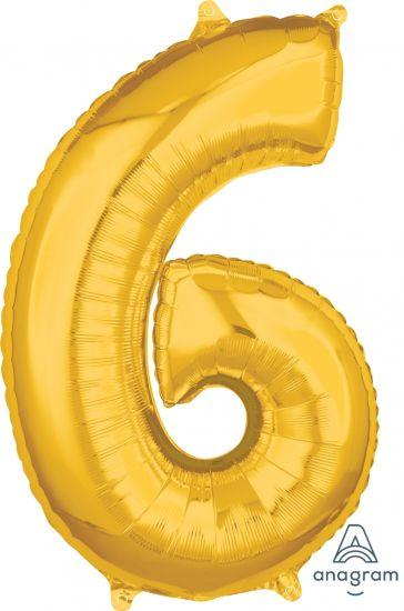 Number 6 Mid Size Shaped Foil Balloon 66cm Gold