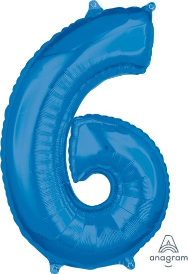 Number 6 Mid Size Shaped Foil Balloon 66cm Blue