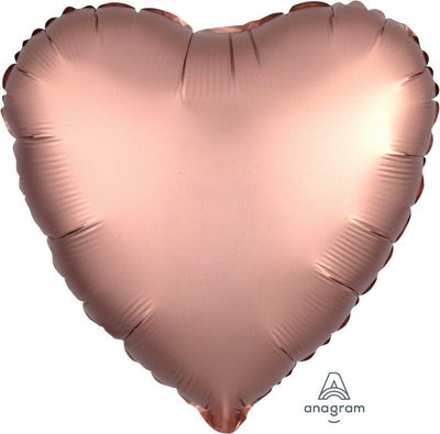 45cm Satin Luxe Heart Foil Balloon Rose Copper