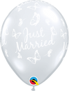 28cm Just Married Butterflies All Round Clear Latex Balloon Pack of 25