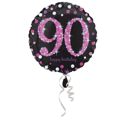45cm Standard Holographic Celebration 90 Foil Balloon Pink