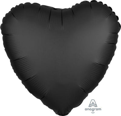 45cm Satin Luxe Heart Foil Balloon Onyx Black