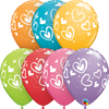 28cm Mix Match Hearts Latex Balloon Pack of 25