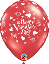 28cm Valentines Swirling Hearts Latex Balloon Pack of 25