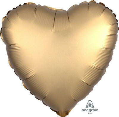 45cm Satin Luxe Heart Foil Balloon Gold Sateen