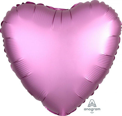 45cm Satin Luxe Heart Foil Balloon Flamingo