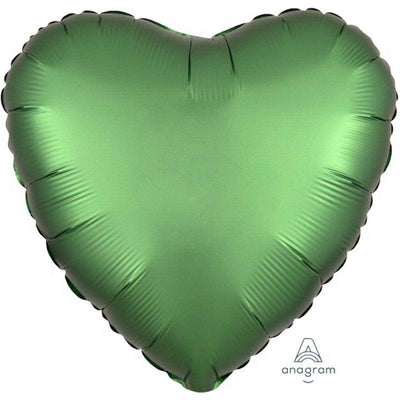 45cm Satin Luxe Heart Foil Balloon Emerald