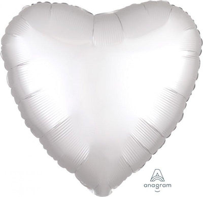 45cm Satin Luxe Heart Foil Balloon White