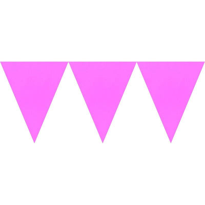 Bright Pink Paper Pennant Banner 4.5m