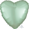 45cm Satin Luxe Heart Foil Balloon Mint Green