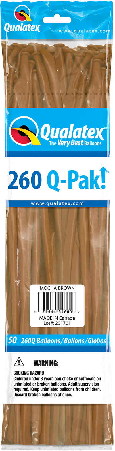 260Q Fashion Latex Modelling Balloon 50pcs Mocha Brown