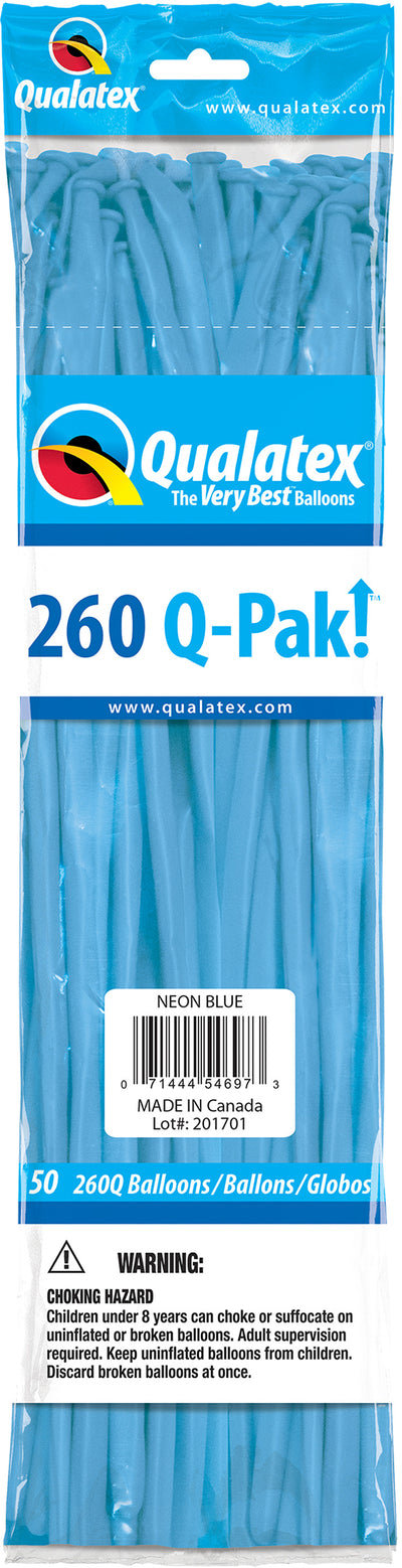 260Q Neon Latex Modelling Balloon 50pcs Blue