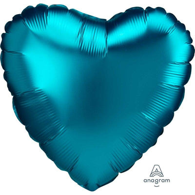 45cm Satin Luxe Heart Foil Balloon Aqua