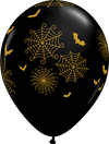 28cm Spider Webs Bats Latex Balloon Pack of 25