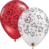 28cm Swirl Hearts Assorted Red White Latex Balloon Pack of 25