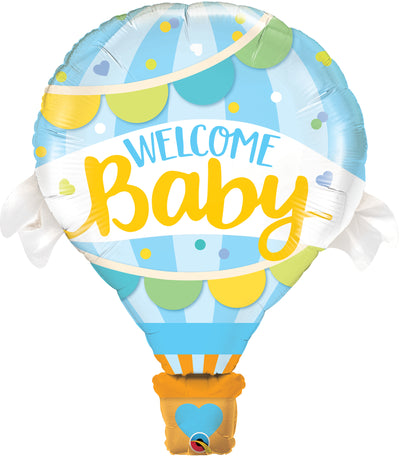 106cm Welcome Baby Shape Foil Balloon Blue