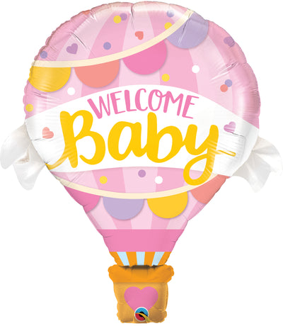 106cm Welcome Baby Shape Foil Balloon Pink