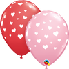 28cm Red Pink Random Hearts Latex Balloon Pack of 25