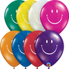 28cm Smile Face Jt Assorted 1 Side Print Latex Balloon Pack of 25