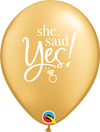 28cm She Said Yes Latex Balloon Pack of 25