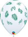 28cm White Tropical Greenery Latex Balloon Pack of 25