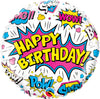 45cm Birthday Super Hero White Foil Balloon
