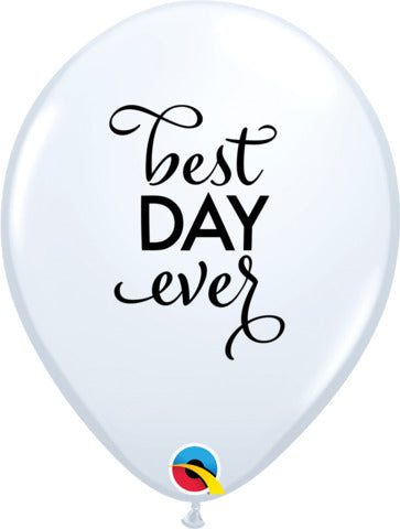 28cm Simply Best Day Ever Latex Balloon 25pcs White