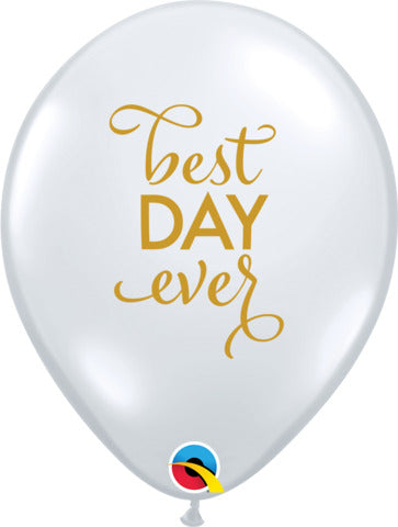 28cm Simply Best Day Ever Latex Balloon 25pcs Diamond Clear