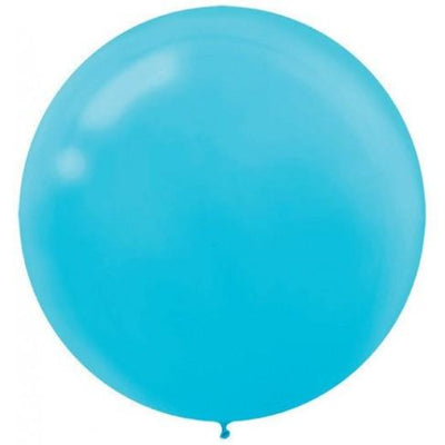 Round Caribbean Blue Latex Balloons 60cm Pack of 4