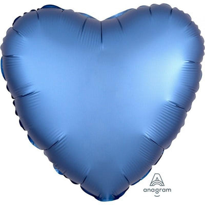 45cm Satin Luxe Heart Foil Balloon Azure Blue