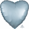 45cm Satin Luxe Heart Foil Balloon Pastel Blue