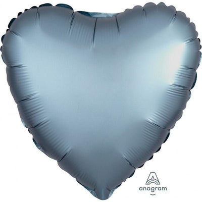 45cm Satin Luxe Heart Foil Balloon Steel Blue