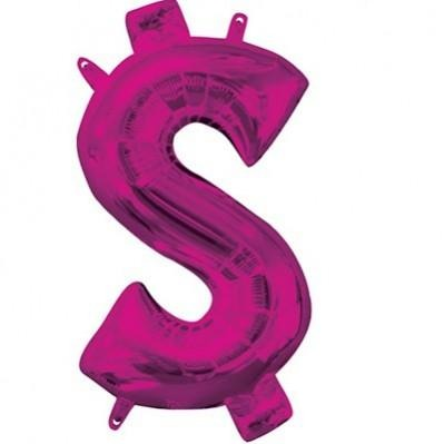Dollar Sign Ci Shaped Foil Balloon 40cm Ink