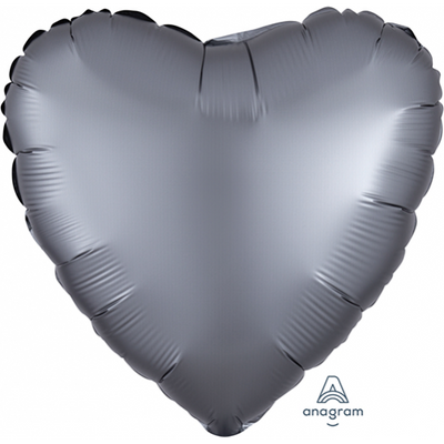 45cm Satin Luxe Heart Foil Balloon Graphite Grey