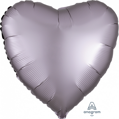 45cm Satin Luxe Heart Foil Balloon Greige Grey