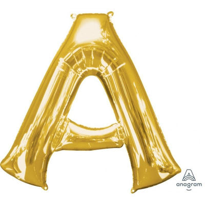 Letter A Supershape Shaped Foil Balloon 86cm Gold