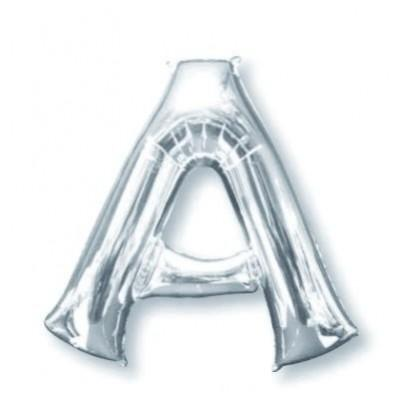 Letter A Supershape Shaped Foil Balloon 86cm Silver