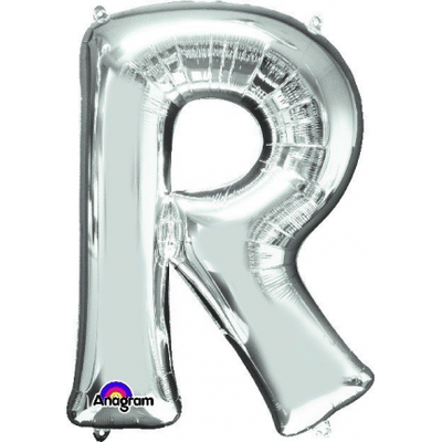 Ci Letter R Shaped Balloon 40cm Silver