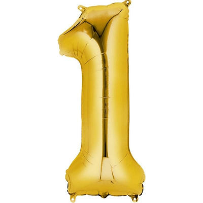 Ci Number 1 Shaped Foil Balloon 40cm Gold