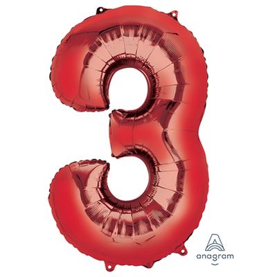 Number 3 Supershape Shaped Foil Balloon 86cm Red