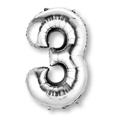 Number 3 Supershape Shaped Foil Balloon 86cm Silver
