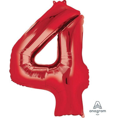 Number 4 Supershape Shaped Foil Balloon 86cm Red